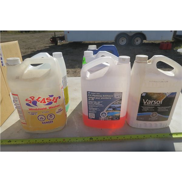 6 Partial Bottles of Washer Fluid / Antifreeze and 1 Varsol