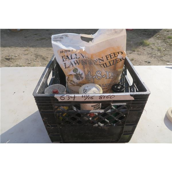 Crate of Yard Care Products, Weed 'n Feed, Pesticide Powders and Nozel