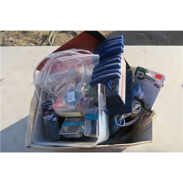 Box of Misc. Hardware, Dust Pan Etc.