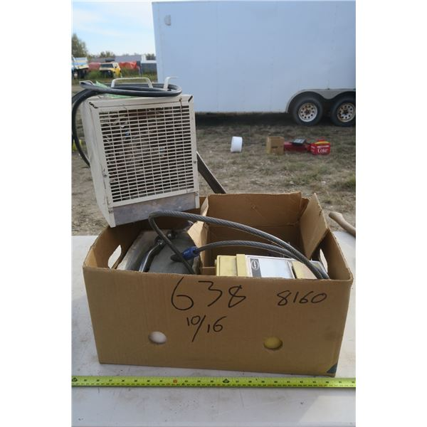 Box of Misc. Vintage Houseware, Ice Crusher, Heater (needs repair), and dust buster