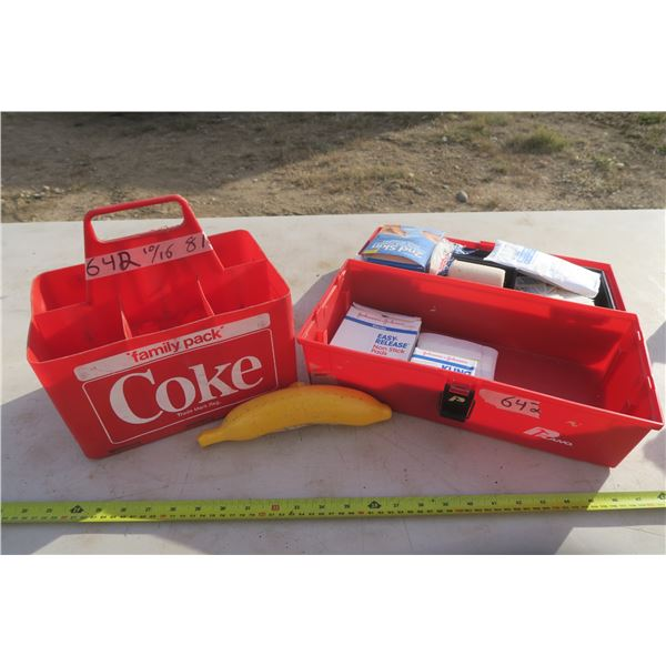 Coke Family Pack Carrier, First Aid Kit, and A Wet Banana