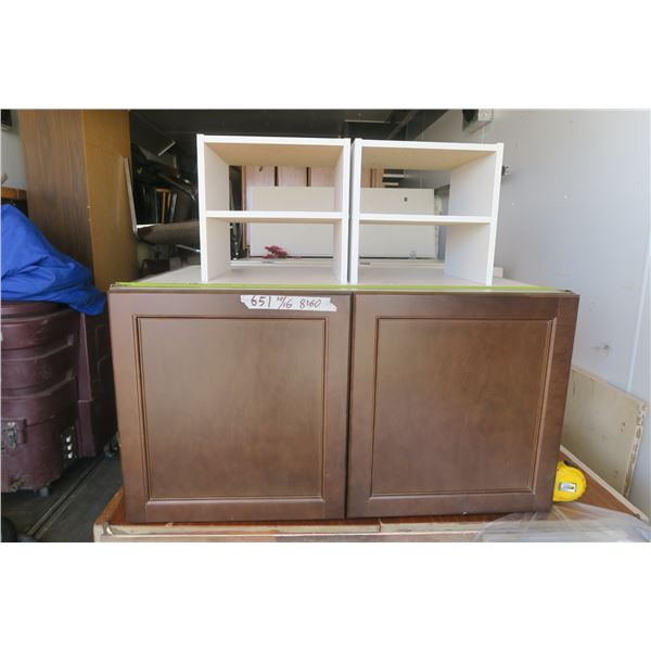 """Melamine Cupboard and 2 Smaller Shelves 34 1/2 X 25 X 18"""""""