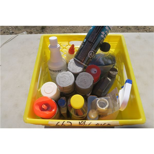 Crate of Misc. Cleaners & Spray Paint