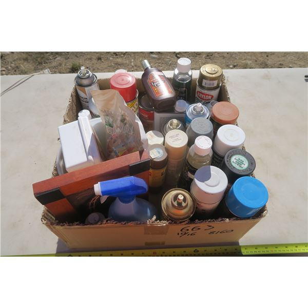 Box of Misc. Cleaners and Spray Paint