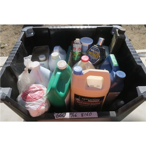Large Tote of Car Polish and Finishing Supplies