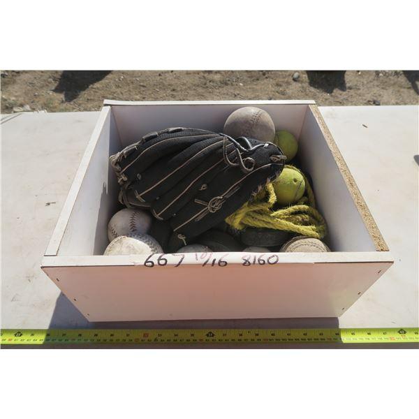 Box with Ball Glove, Baseballs, Softballs, and Tennis Balls