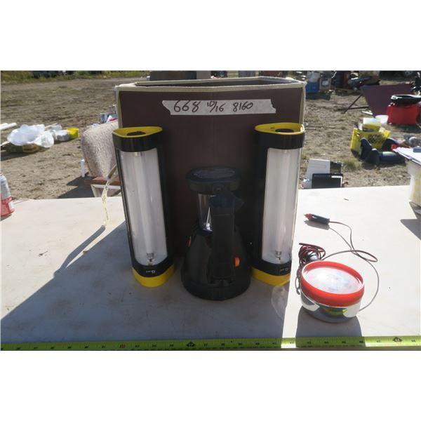 Fabric Storage Box & Large Assortment of Flashlights