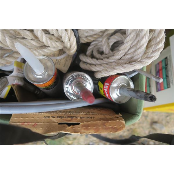 Green Basket of Misc. Items Including Adhesives, Rope, Faucet Lines, Etc.