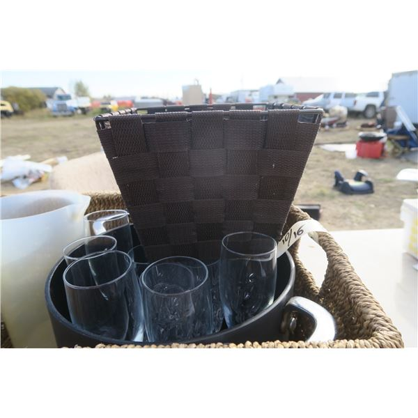 Picnic Basket, Soup Pot, Wine Glasses / Champagne Flutes Pitcher & Basket