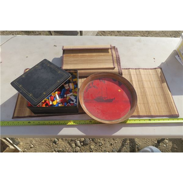 """Cookie Tin of Lego 12"""" Serving Tray & 7 Bamboo Place Mats"""