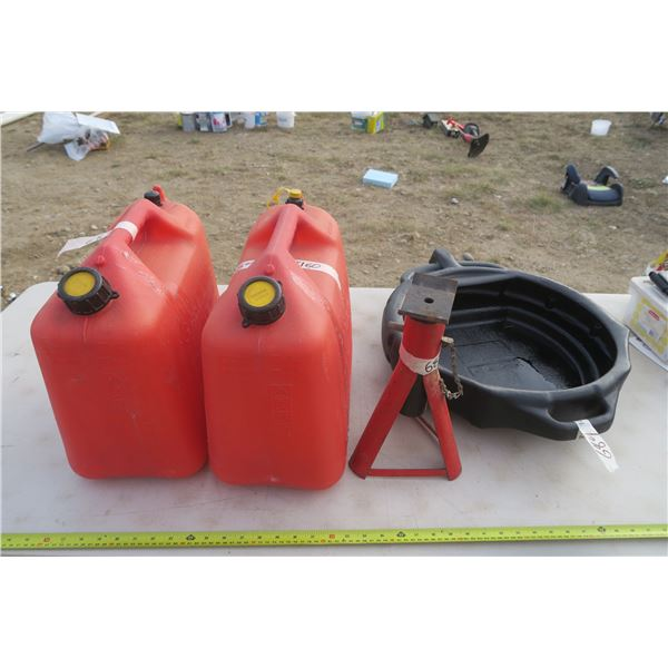 2 Gas Cans, Oil Drop Pan, and Jack Stand
