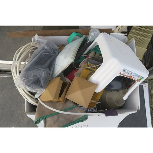 Large Box of Misc. Items Including Welding Gloves, Face Shield, Trouble Light, And Roll of Electrica