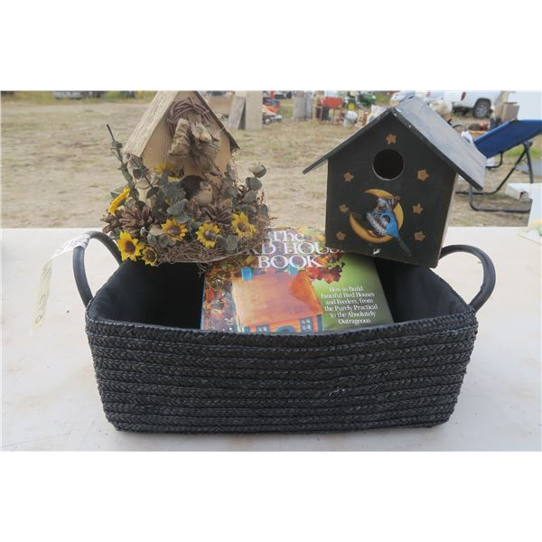 The Birdhouse Book, with 2 Birdhouses (1 Ornamental) and Basket