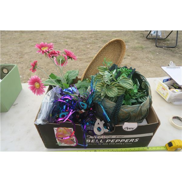 Artificial Flowers, Full box of Jute Rope, & 60th Birthday Party Decorations