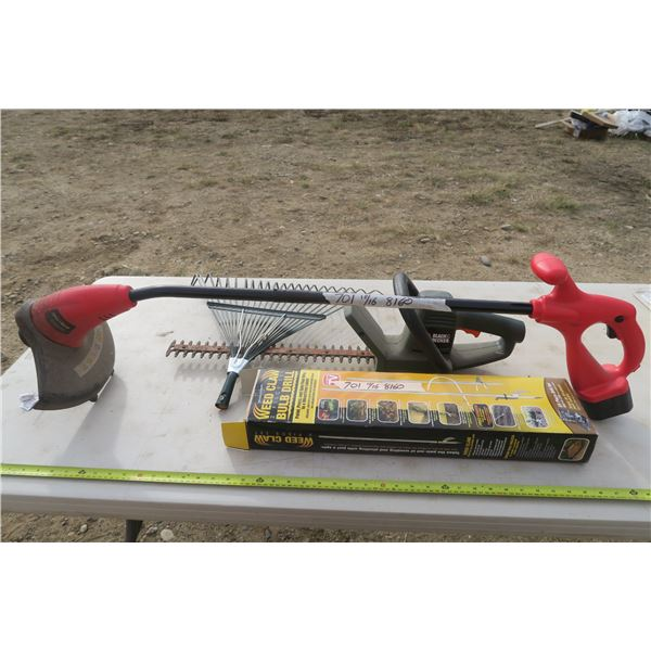 Yardcare Lot Including Hedge Trimmer, Weed Whip (Needs Power Adapter) Rake and Weed Claw