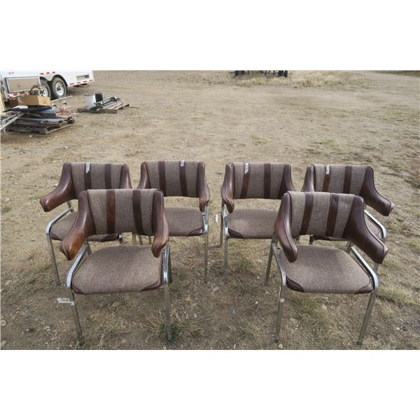 6 Vintage Captains Chair with Leather Accents