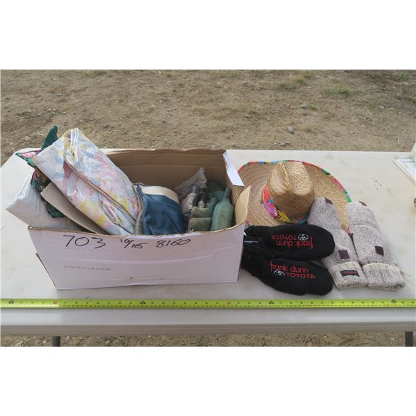 Box of Table Cloths, Gloves, Toyota Branded Gloves, and Sun Hat