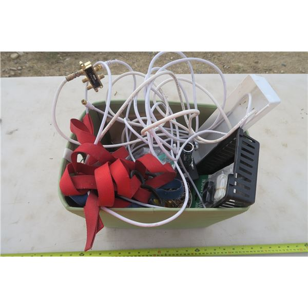 Basket of Misc. Items Including Ratchet Straps, Fish Hooks, Coax Cable & More