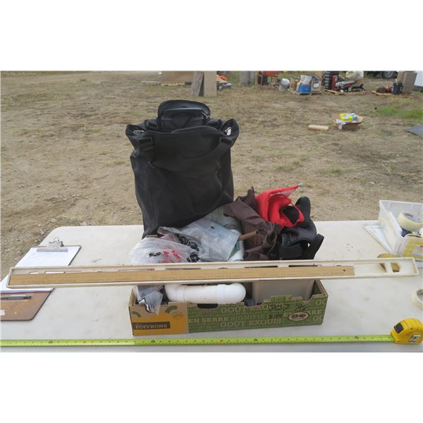 Box of Misc. PVC, Level, Meter Stick, & Travel / Storage Bags