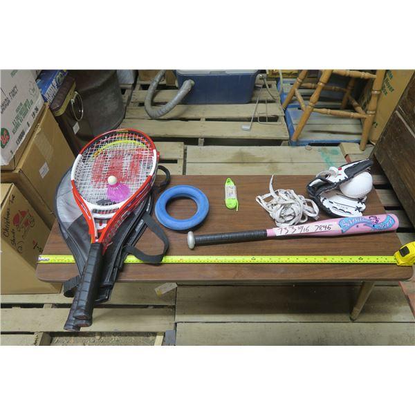 Lot of Sports Goods, Bat, Ball and Glove, Rackets ETC