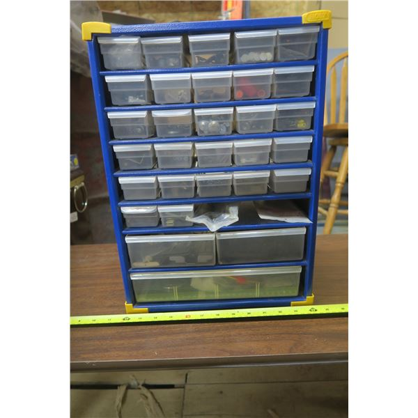Shop Organizer with Contents of Misc. Hardware