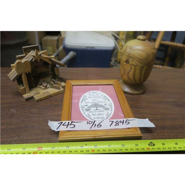 Knick Knacks, Framed Needle Point, Wood Nativity Scene, & Wood Turned Acorn