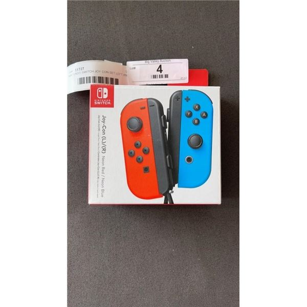 NINTENDO SWITCH JOY CON SET LEFT AND RIGHT, NEON RED AND BLUE - WORKING