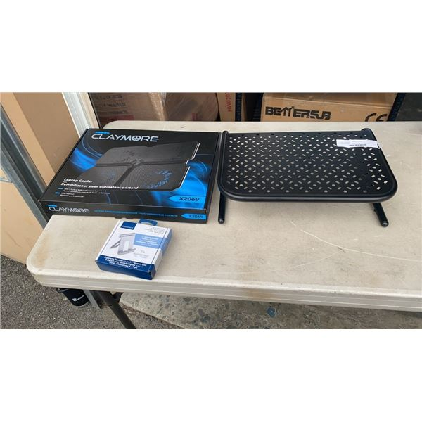 NEW CLAYMORE LAPTOP COOLER, INSIGNIA ADJUSTABLE TABLET STAND AND MONITOR RISER RETAIL$130