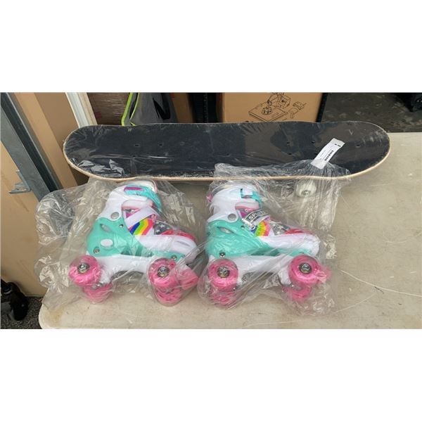 NEW SKATEBOARD AND ROLLERSKATES SIZE M 35-38