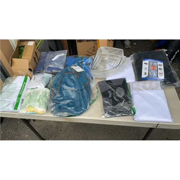 LOT OF NEW MESH SCREEN, SHOWER CURTAIN, BAGS, FABRIC ORGANIZERS AND MORE