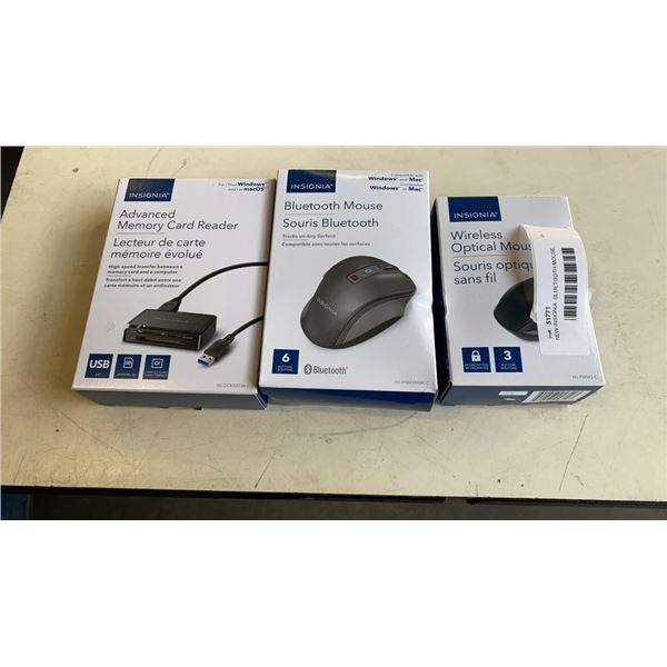 NEW INSIGNIA  BLUETOOTH MOUSE, WIRELESS OPTICAL MOUSE AND ADVANCED MEMORY CARD READER