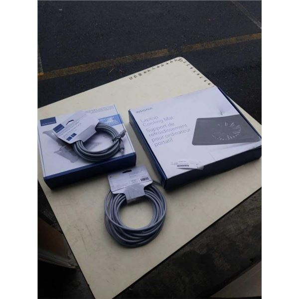 NEW INSIGNIA LAPTOP COOLING MAT, ADJUSTABLE TABLET HOLDER AND 2 NETWORK CAT6 CABLES 14FT AND 25FT RE