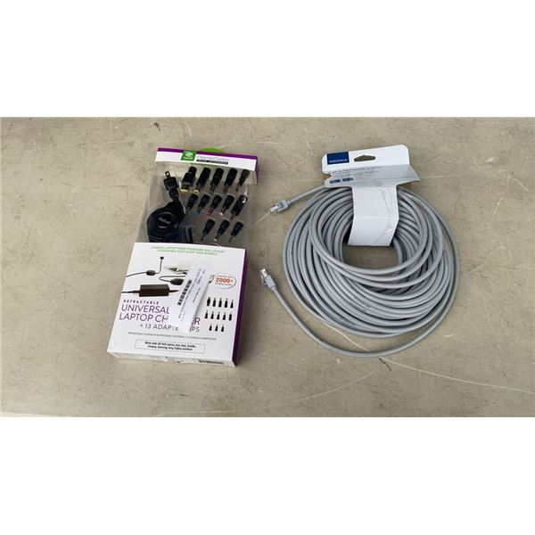 AS NEW 100FT CAT6 CABLE AND UNVERSAL 65W LAPTOP CHARGER RETAIL $110