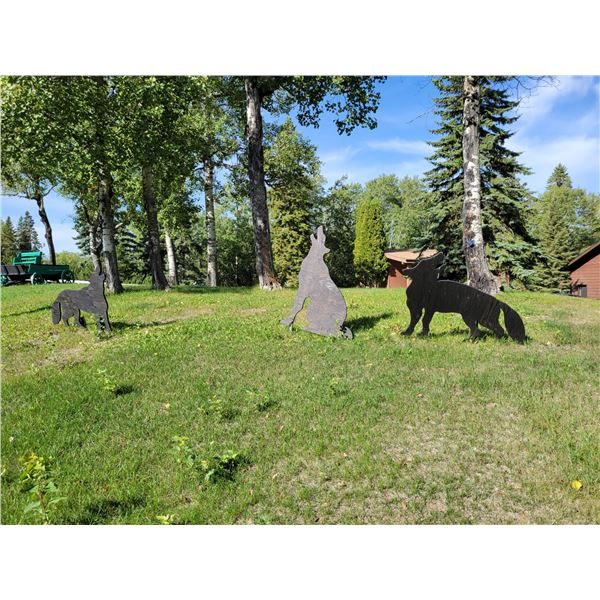 3 Wooden Wolves. Lawn Ornaments.