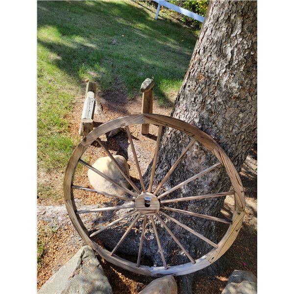 Wagon Wheel & 2 Wooden Deer Lawn Ornaments.