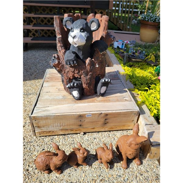 Bear in a Trunk Lawn Ornament & Rabbit Family.