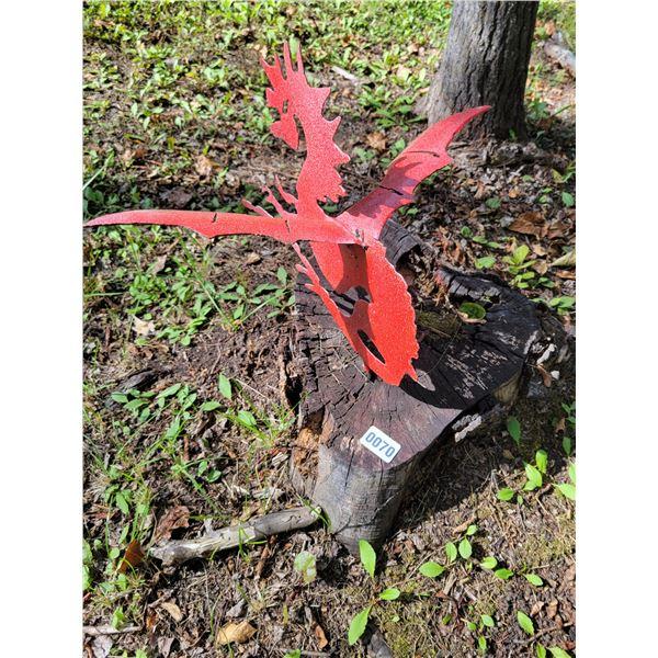 Metal Art - 2 Red Dragon Lawn Ornaments