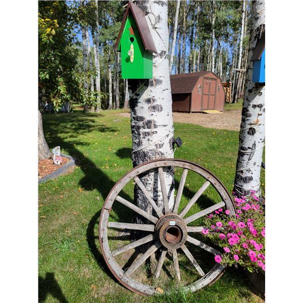 Wagon Wheel & Green Birdhouse