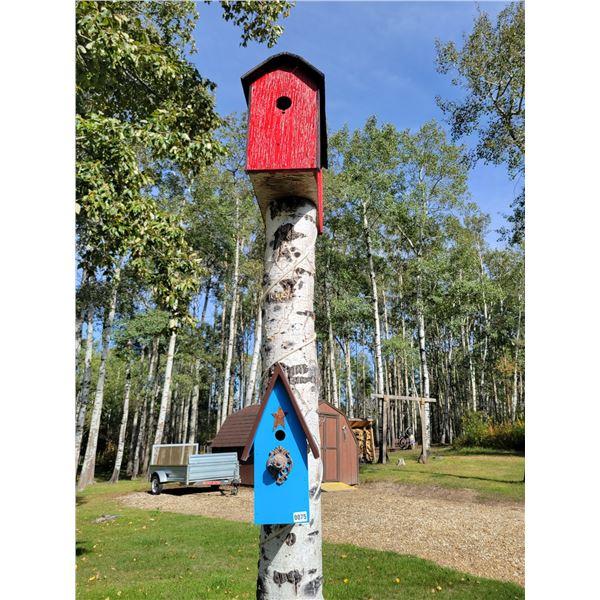 Large Red Birdhouse & Medium Blue Birdhouse
