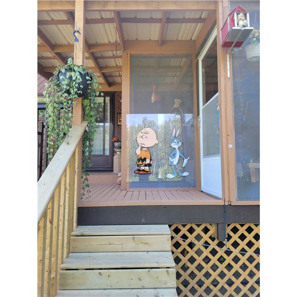 Birdhouse - Planter - Plexiglass Charlie Brown & Bugs Bunny