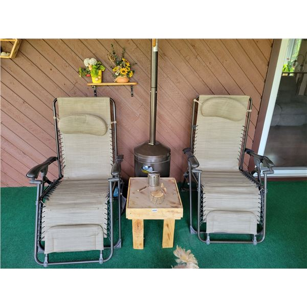 2 Lawn Chairs - Wooden Table & Patio D'cor