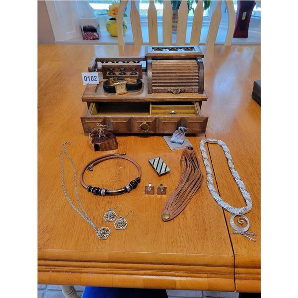 Assorted Costume Jewellery & Jewellery Box