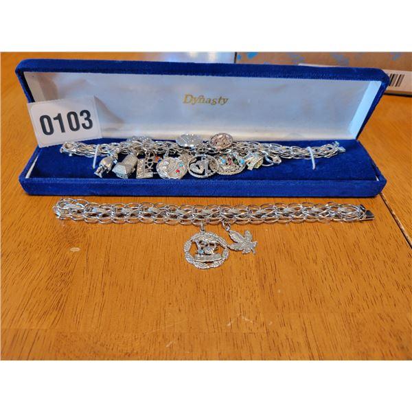 2 Sterling Silver Charm Bracelets