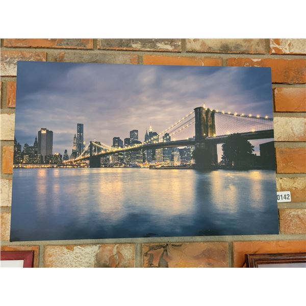 Canvas of Bridge & 2 Candle Holders
