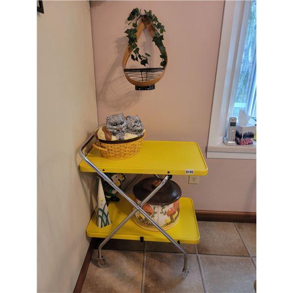 Tea Cart with Vintage Handmade Ceramics