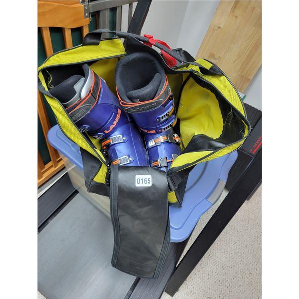Lange Ski Boots & Bag with Skiis and Helmet