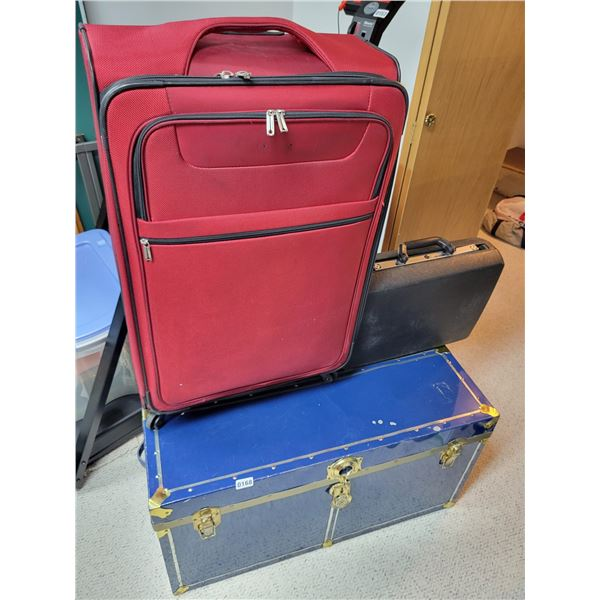 Metal Steamer Trunk - Samsonite Briefcase - Red Suitcase