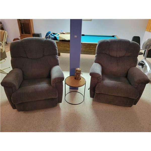 2 Grey Rocking Recliner Chairs & Small Table with Candle Ornament
