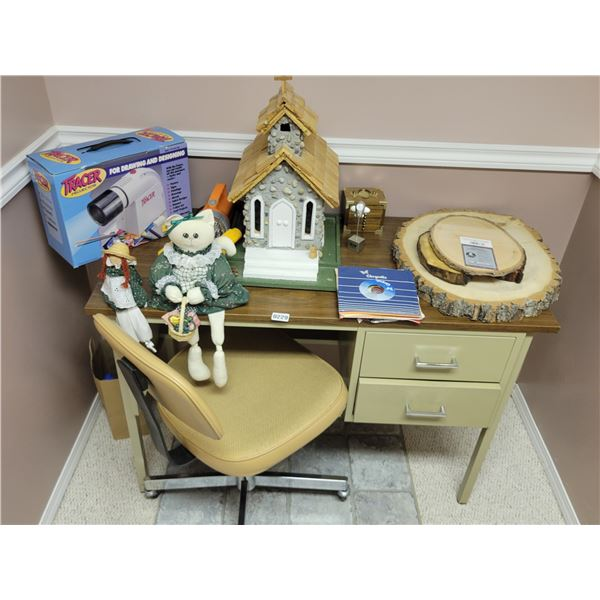 Metal Desk & Chair - with contents on desk