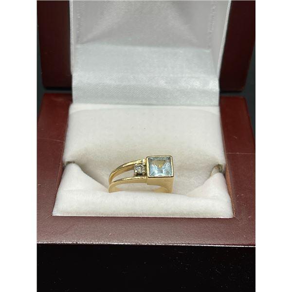 14K 4.2g Aquamarine & Diamond Ring